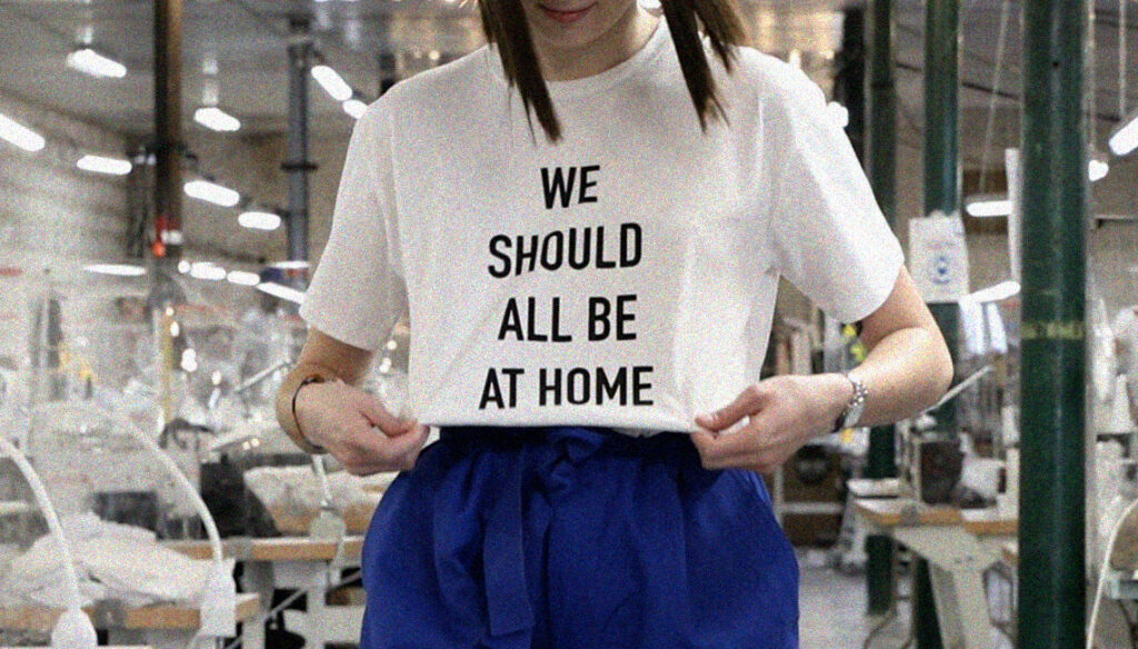 T-shirt engagé WE SHOULD ALL BE AT HOME